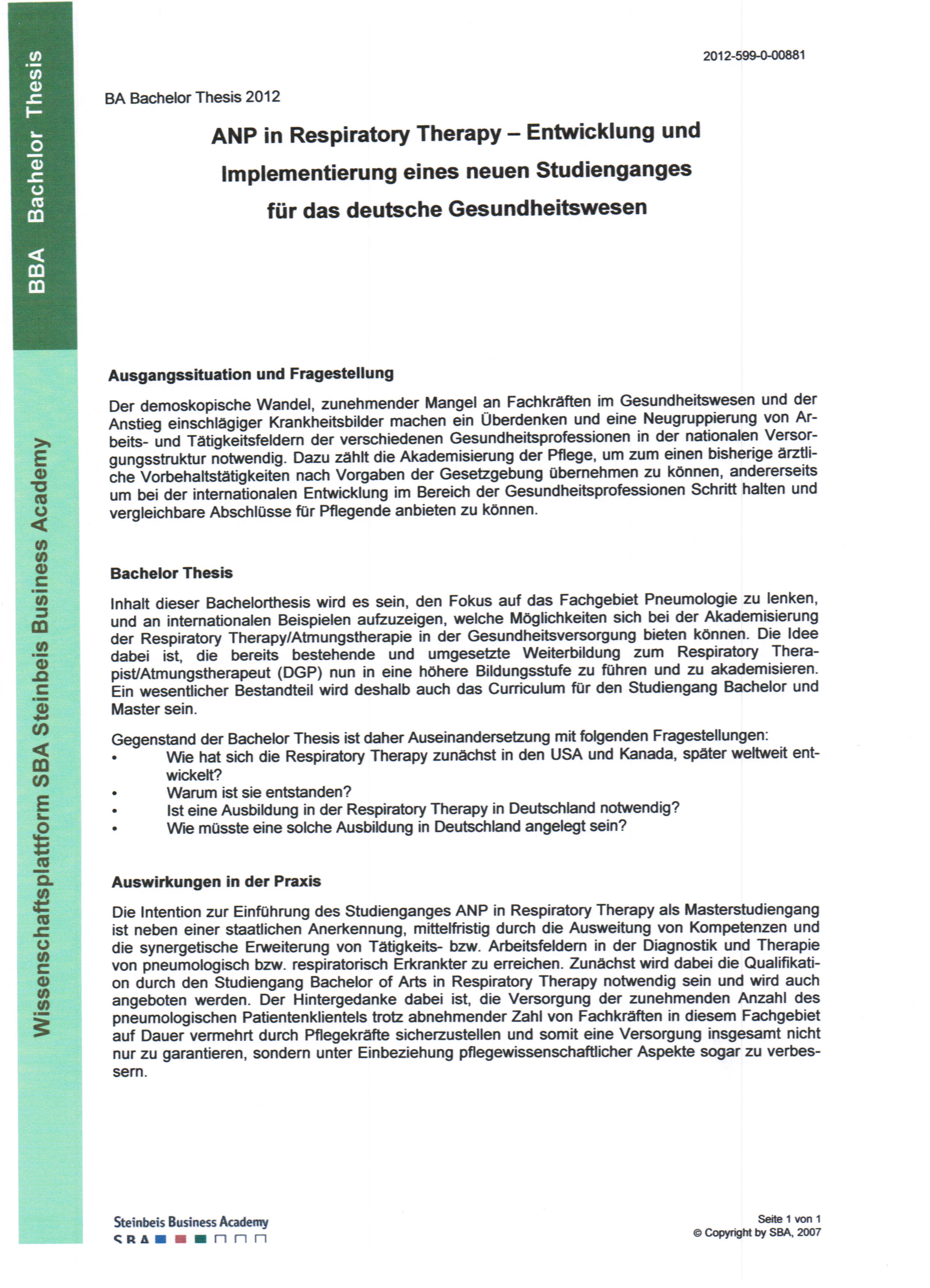 Bachelor Thesen Steinbeis Hochschule In Essen Kalkar Bachelor