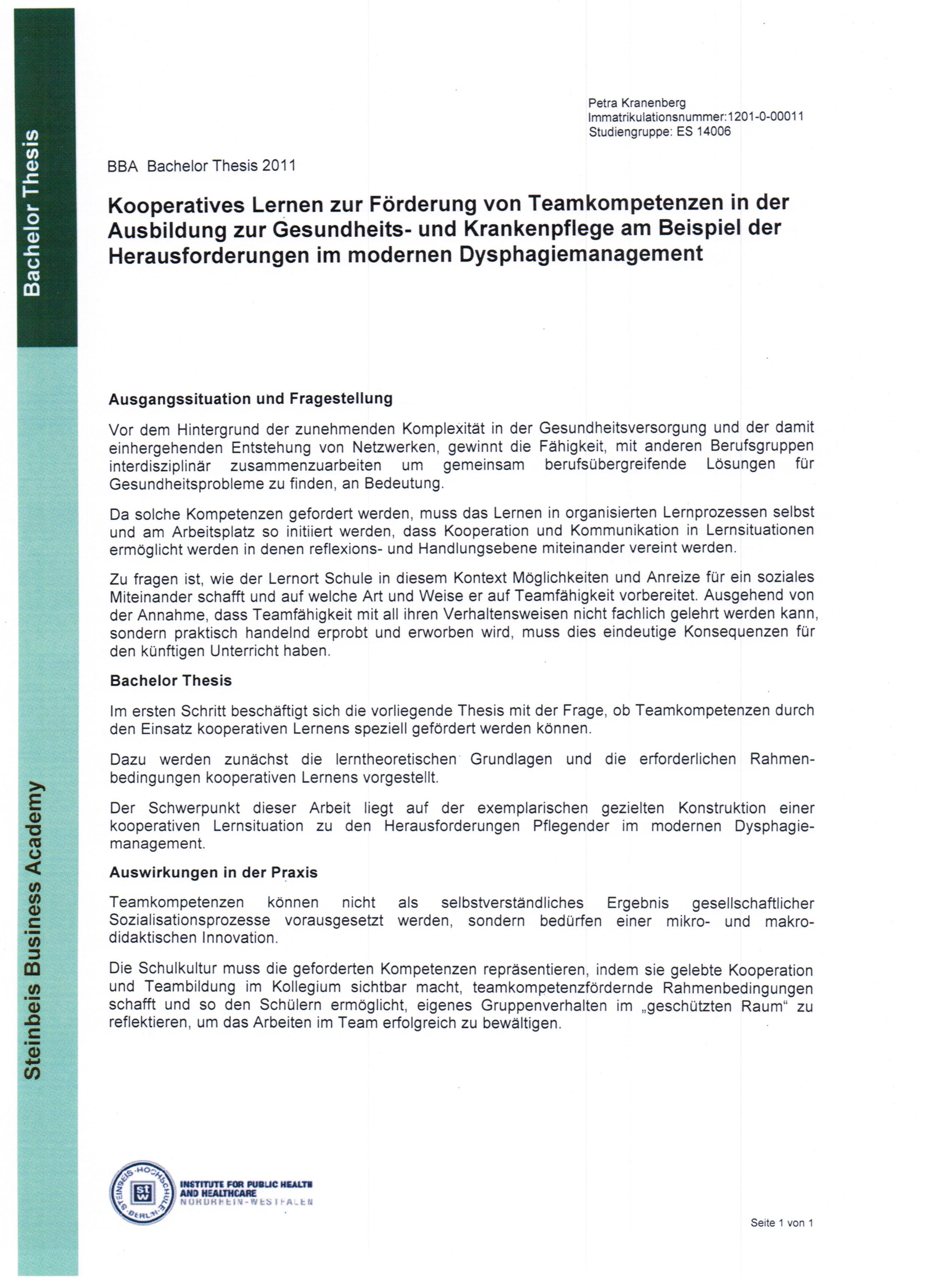 Bachelor-Thesen - Steinbeis Hochschule in Essen-Kalkar ...  Bachelor-Thesen...
